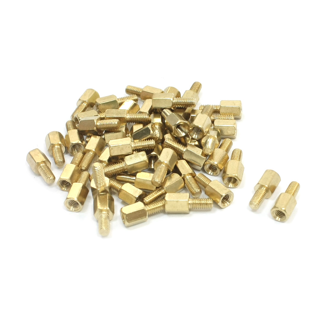 50 Pcs M3 x 6mm x 12mm Male to Female Thread Gold Tone Brass Pillar PCB Hexagon Standoff Spacer