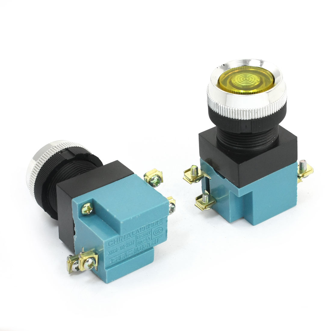 2Pcs Ui 380V Ith 5A 24mm Thread Panel Mounting 4 Screw Terminal DPST Momentary Yellow Button Push Switch