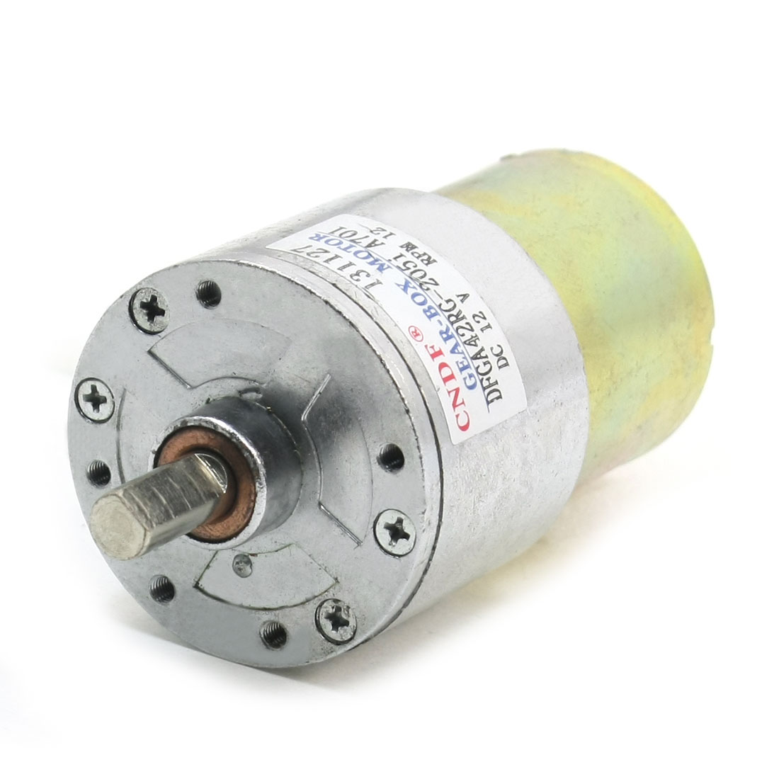 DC12V 12RPM 92mm Length Silver Tone Metal Magnetic Gearbox Motor