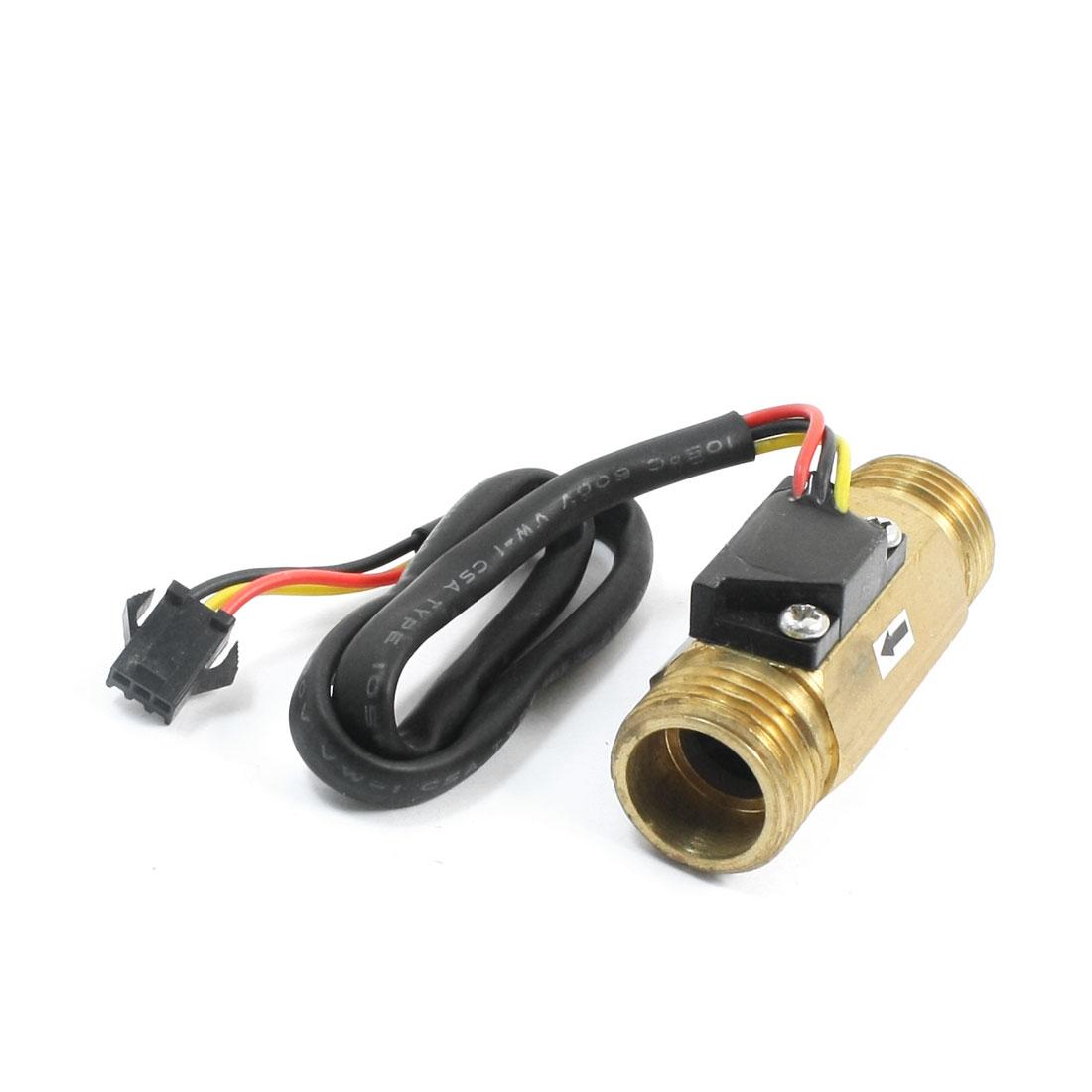 SEN-HZ21WI G1/2 Male Port 1-30L/min Brass Water Flow Hall Sensor Switch Flowmeter