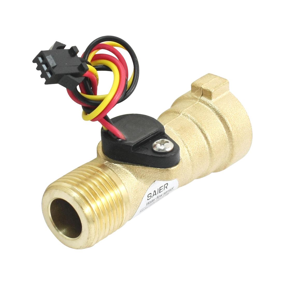 68mm Long M/F G1/2 Thread Port 1-30L/min Hall Effect Water Flow Sensor Flowmeter