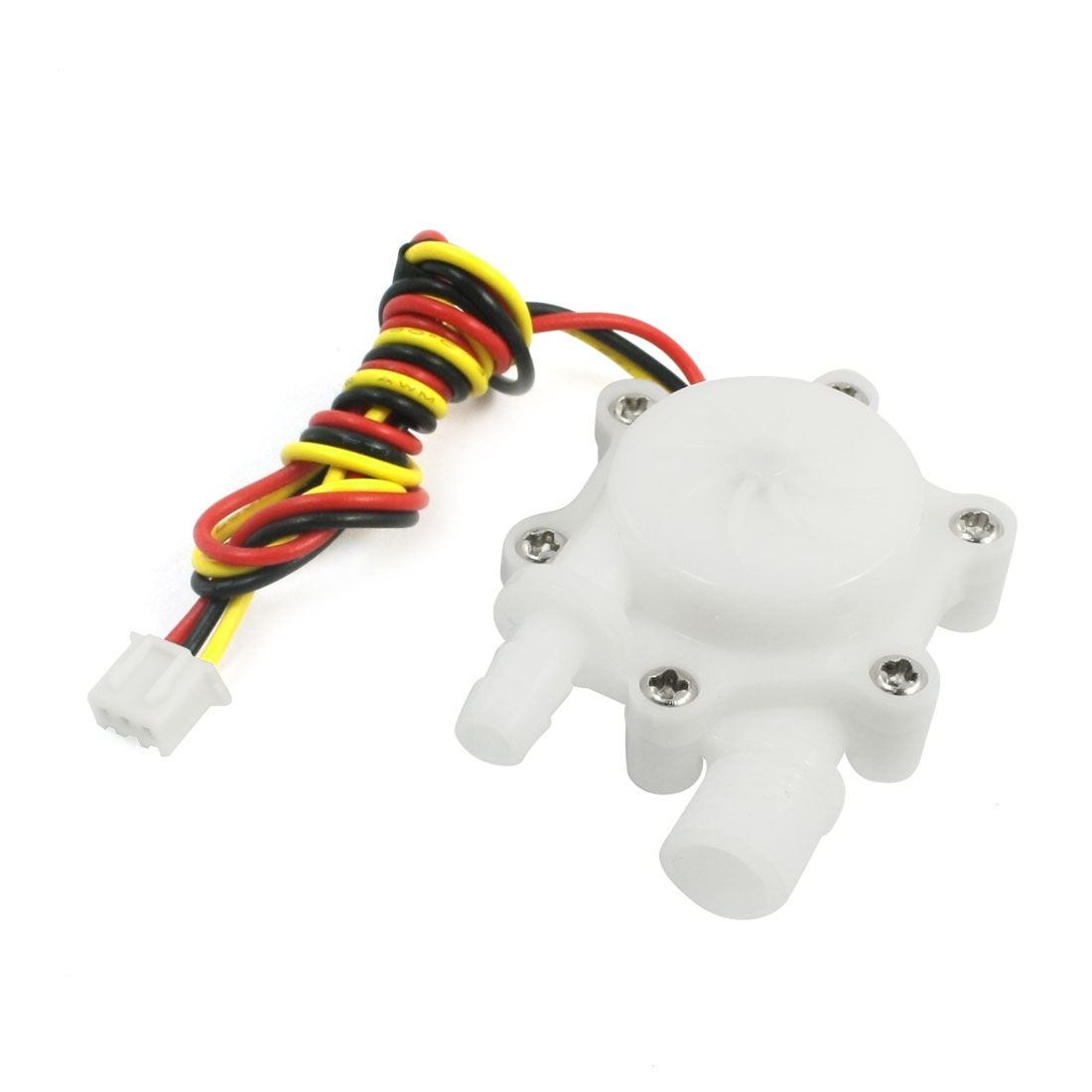 White POM 0.15-1.5L/min G1/4 Male Threaded 6mm Outlet Water Flow Sensor
