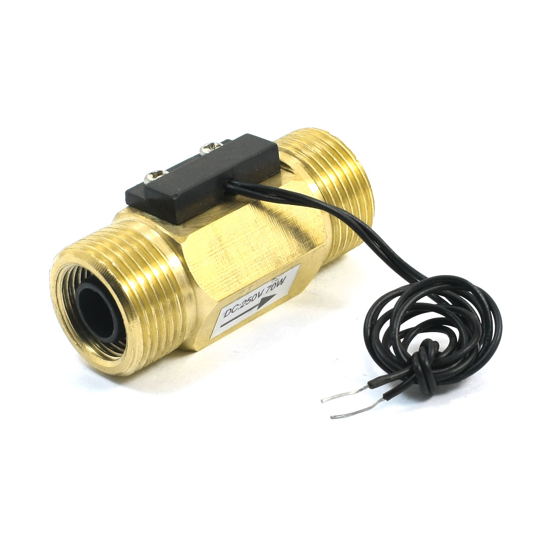 DC250V Brass G3/4 26mm Male Thread Port Reed Water Flow Switch Flowmeter 1-30L/min