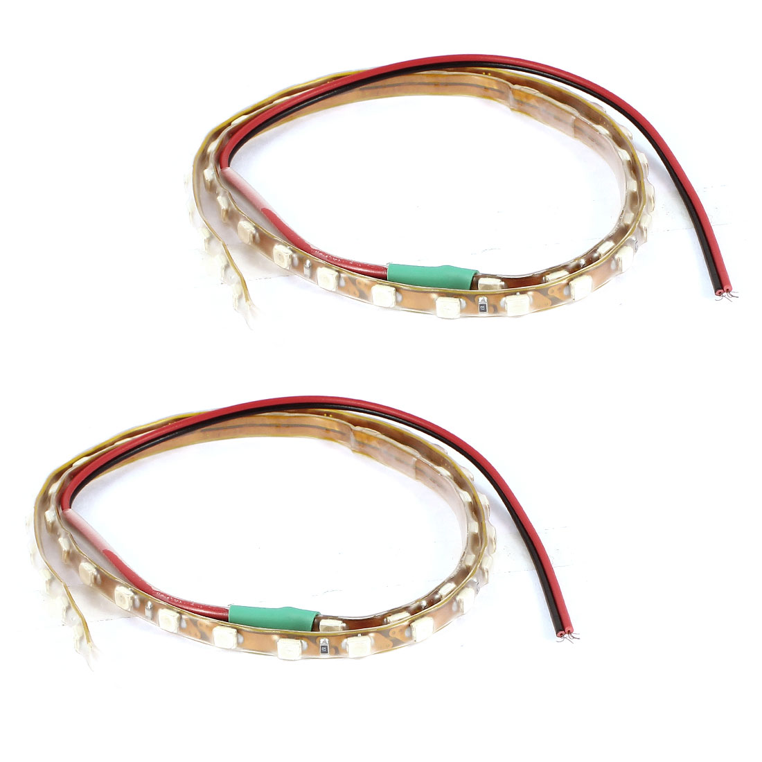2 Pcs 45cm Length Green LED 45 1210 SMD Light Strip Decor for Car Vehicles Internal