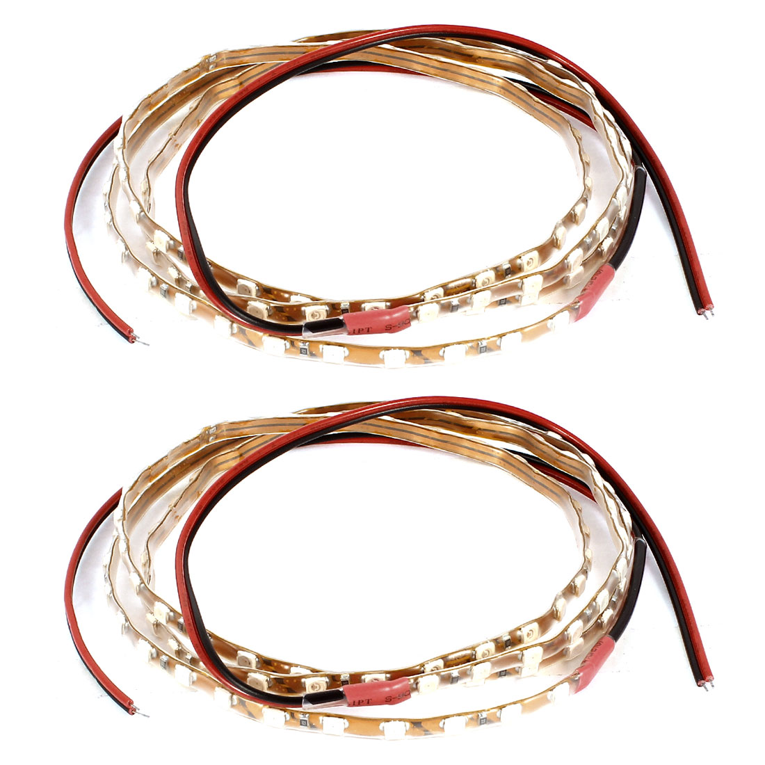 2 Pcs Red 1210 SMD 90 LED Auto Car Flexible Decoration Strip Light 90cm Length Internal