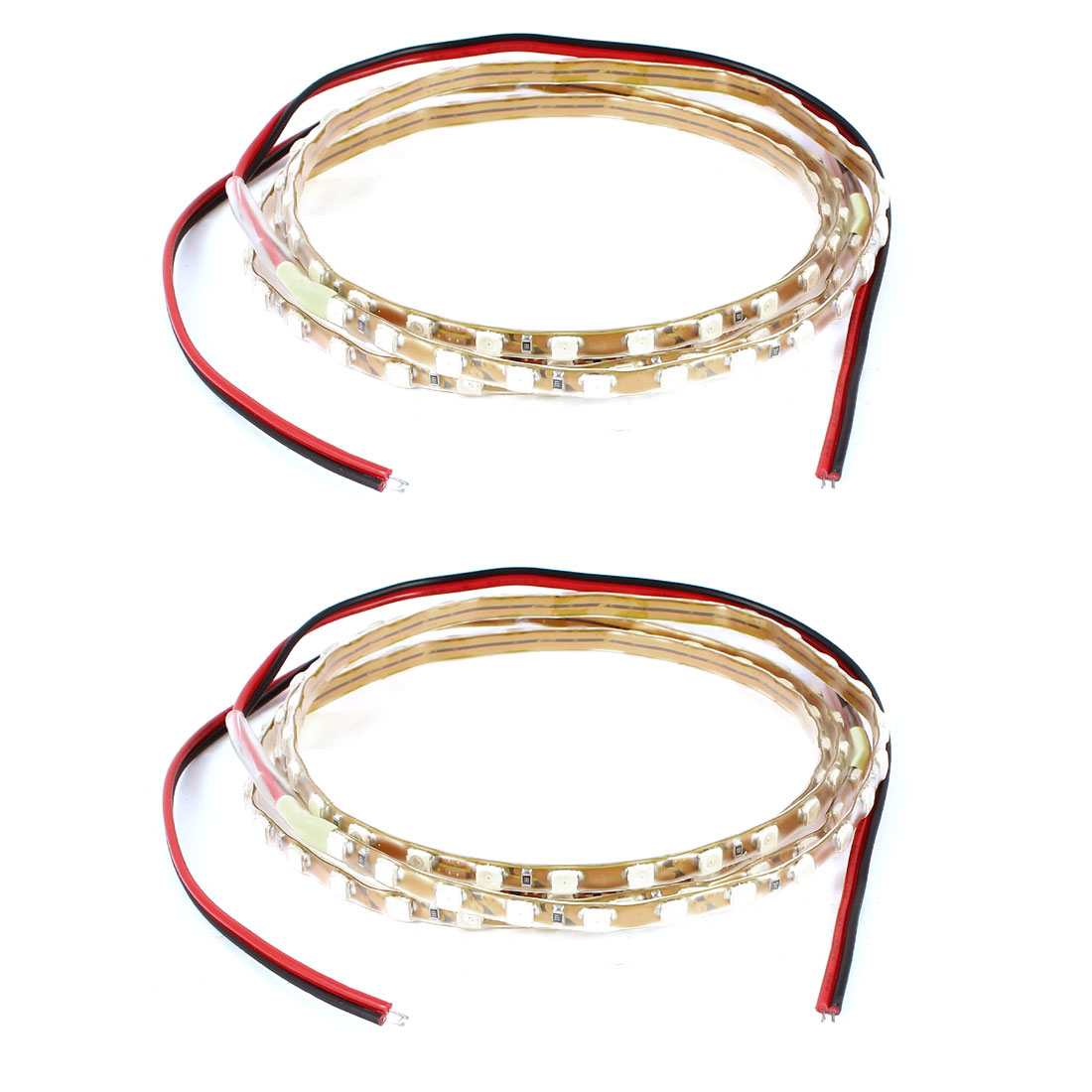2 Pcs Auto Car Yellow 1210 3528 SMD 90 LED Flexible Strip Light Lamp 90cm Long Internal