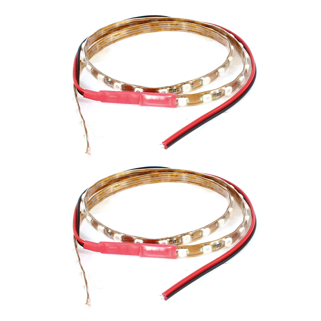 2 Pcs DC 12V Car Red 1210 SMD 45 LED Flexible Strip Light Lamp Decor 45CM Internal