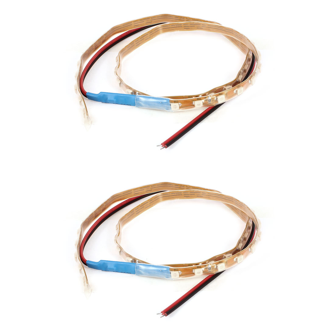 2 Pcs Auto Decor DC 12V Interior Blue 1210 SMD 45 LED Flexible Strip Light Lamp 45CM Long Internal