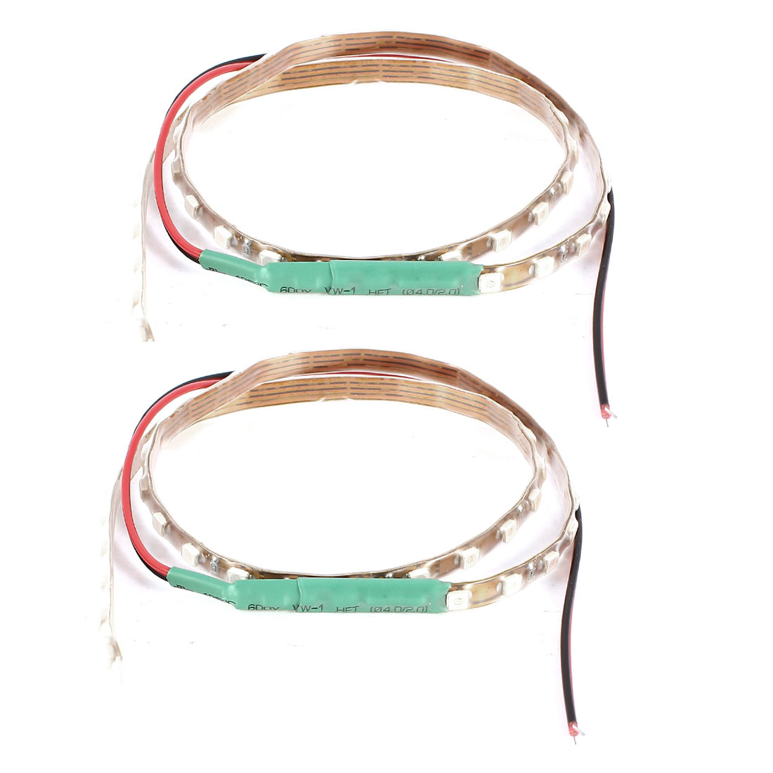 "2 Pcs 17.7"" 45cm Car Green 45 LED 1210 3528 SMD Decorative Flexible Light Strip Bar Internal"