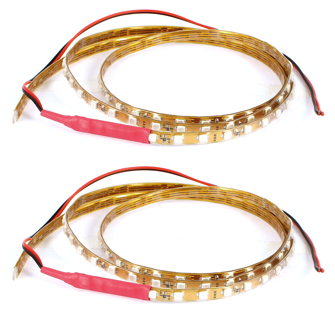 2 Pcs Waterproof Car Red 90 1210 3528 SMD LED Light Lamp Strip Bar 90cm DC 12V Internal