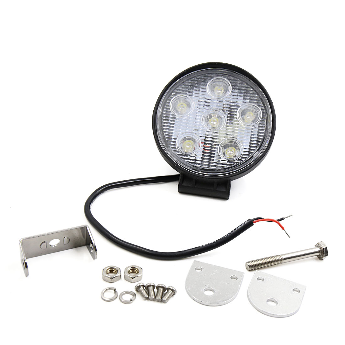 Black Metal Round Case 18W 6 LED Work Light Spot Beam Fog Driving Lamp for Offroad ATV SUV