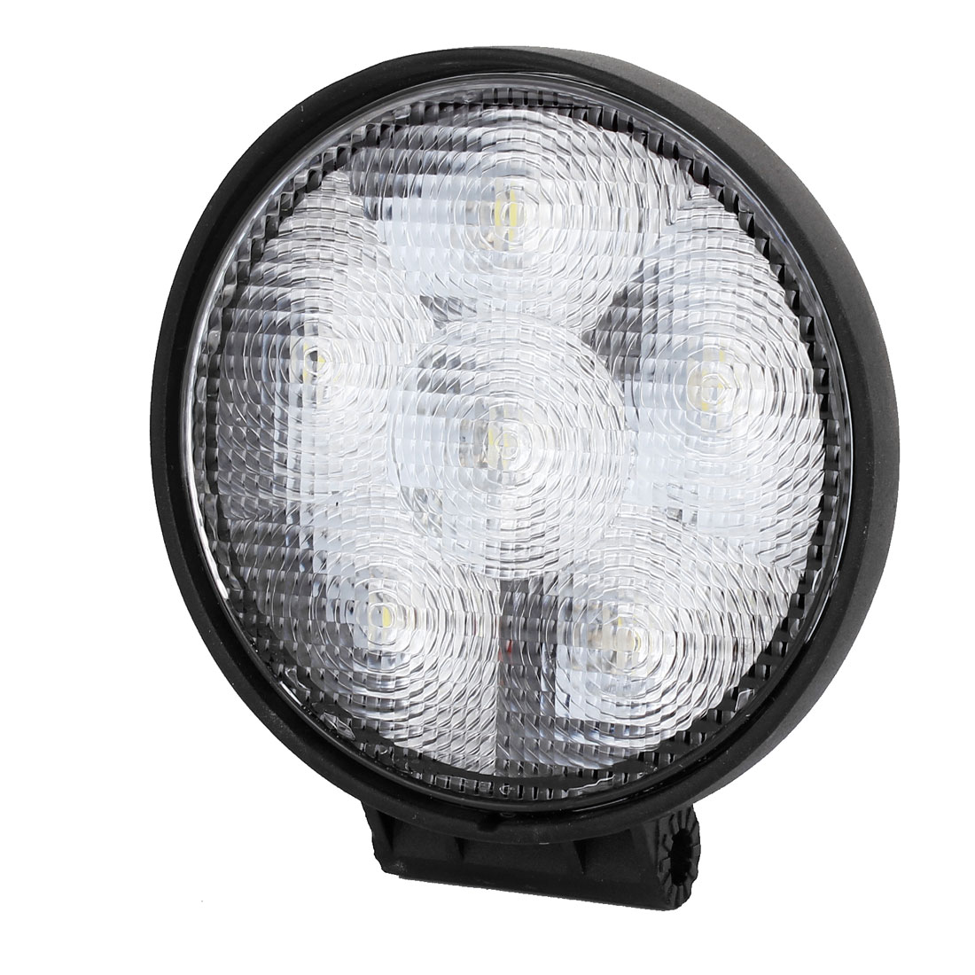 "4.6"" Dia Black Metal Round Shell 18W White 6 LED Flood Beam Work Light Driving Lamp Offroad SUV ATV"
