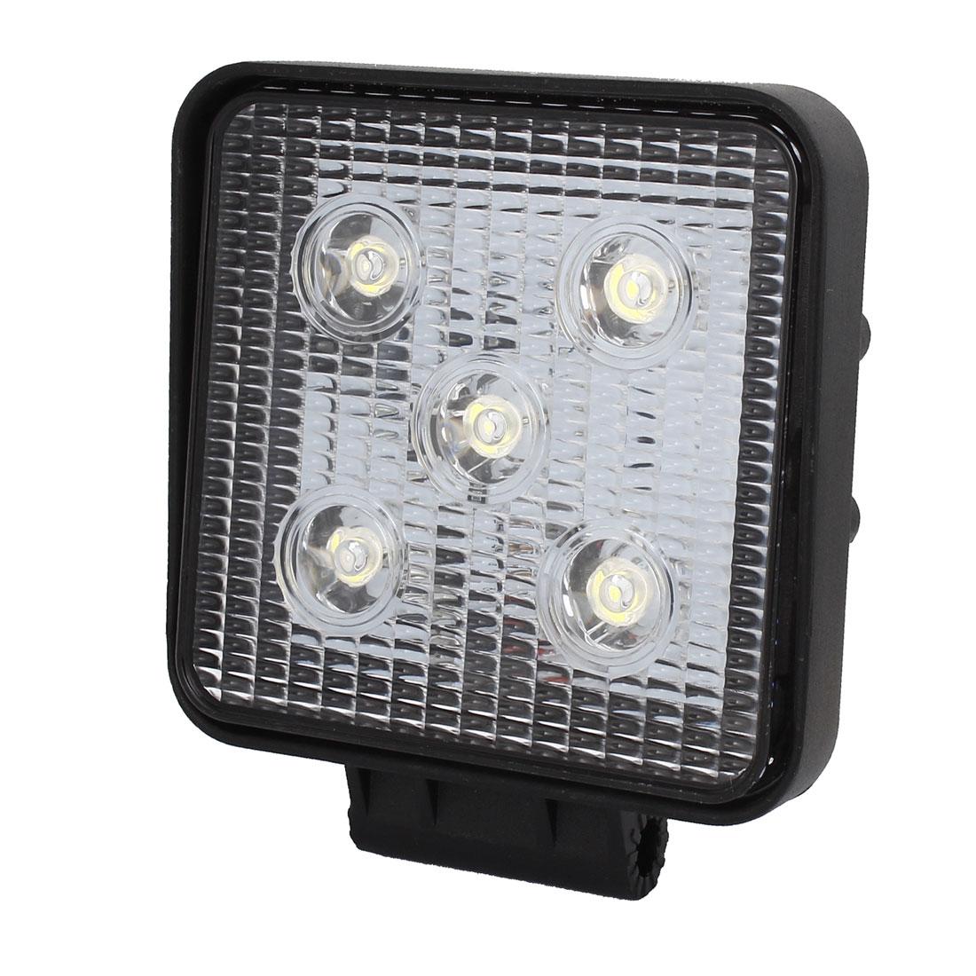 Black Metal Square Housing 15W Spot Beam 5 LED Work Light Driving Lamp Offroad SUV ATV DC 12V
