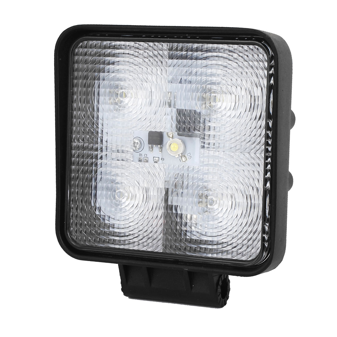 Black Metal Square Shell White 5-LEDs Bulb Flood Lamp Spotlight Working Light DC 12V 15W for Truck