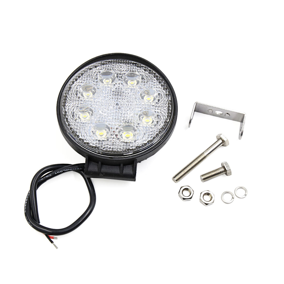 Black Metal Shell Round 24W Flood Beam 8 LED Work light Fog Driving Lamp Offroad SUV ATV Jeep Boat Internal