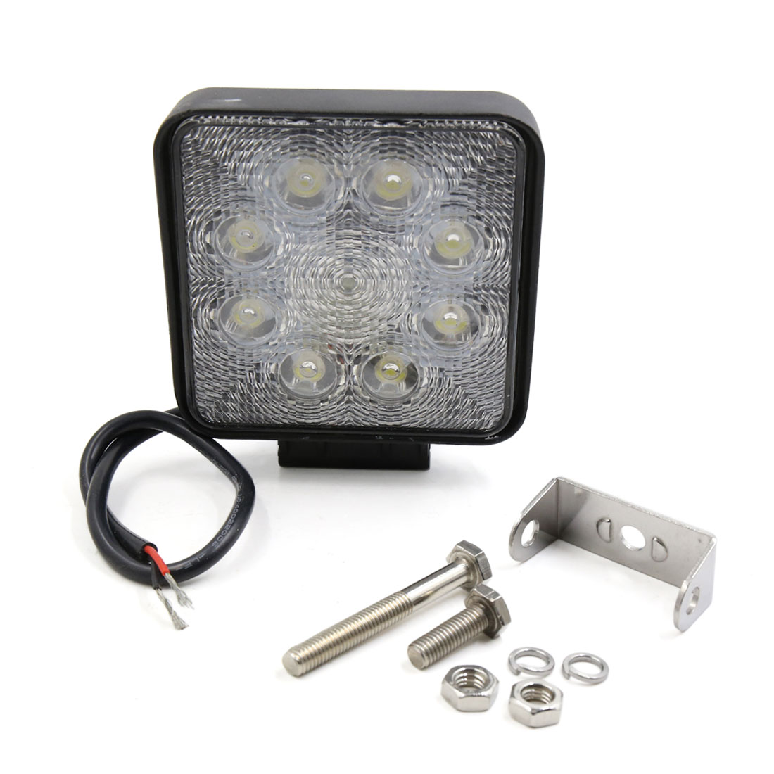 Black Metal Square Shell 24W Spot Beam 8 LED Work Light Fog Driving Lamp for Offroad ATV SUV Internal