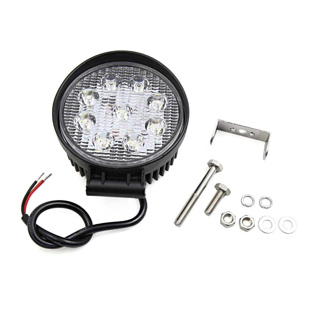 Black Metal Shell Round 27W Spot Beam 9 White LED Work Light Fog Driving Lamp for SUV ATV Jeep