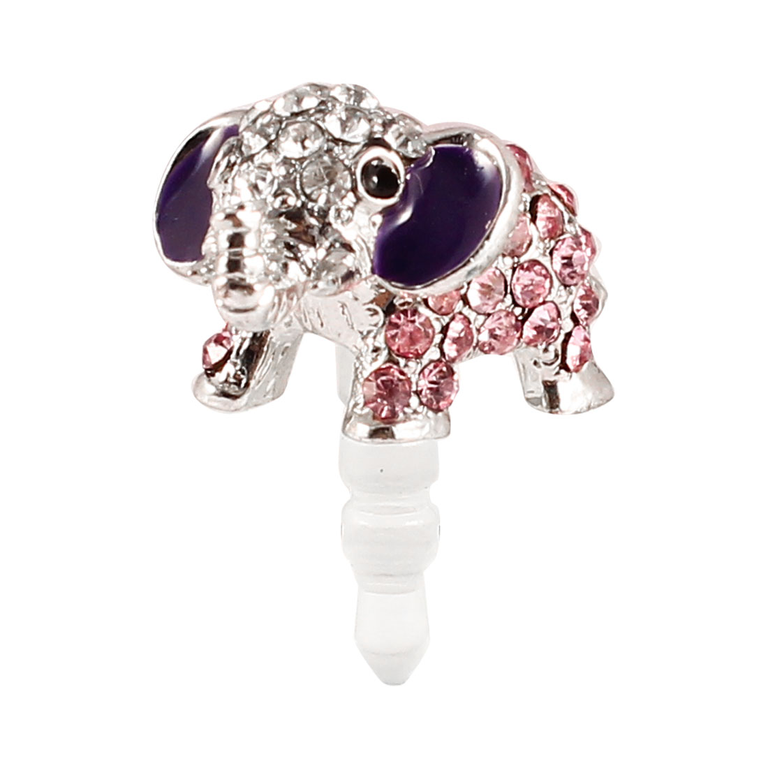 3.5mm Anti Dust Pink Silver Tone Elephant Design Ear Cap for Mobile Phone