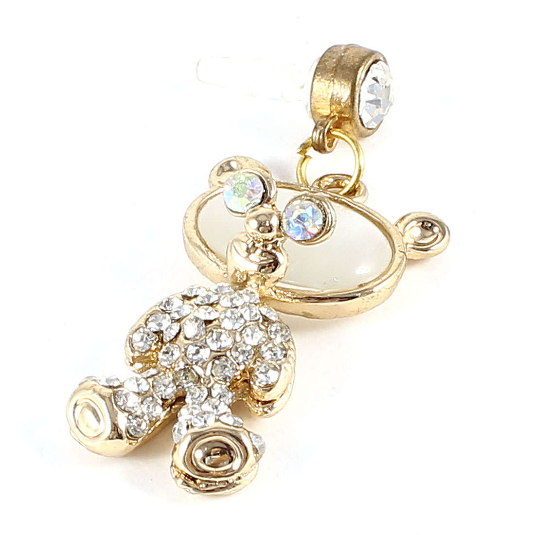 Faux Rhinestone Accent Bear Shape Pendant 3.5mm Dust Ear Cap White Gold Tone for Smart Phone