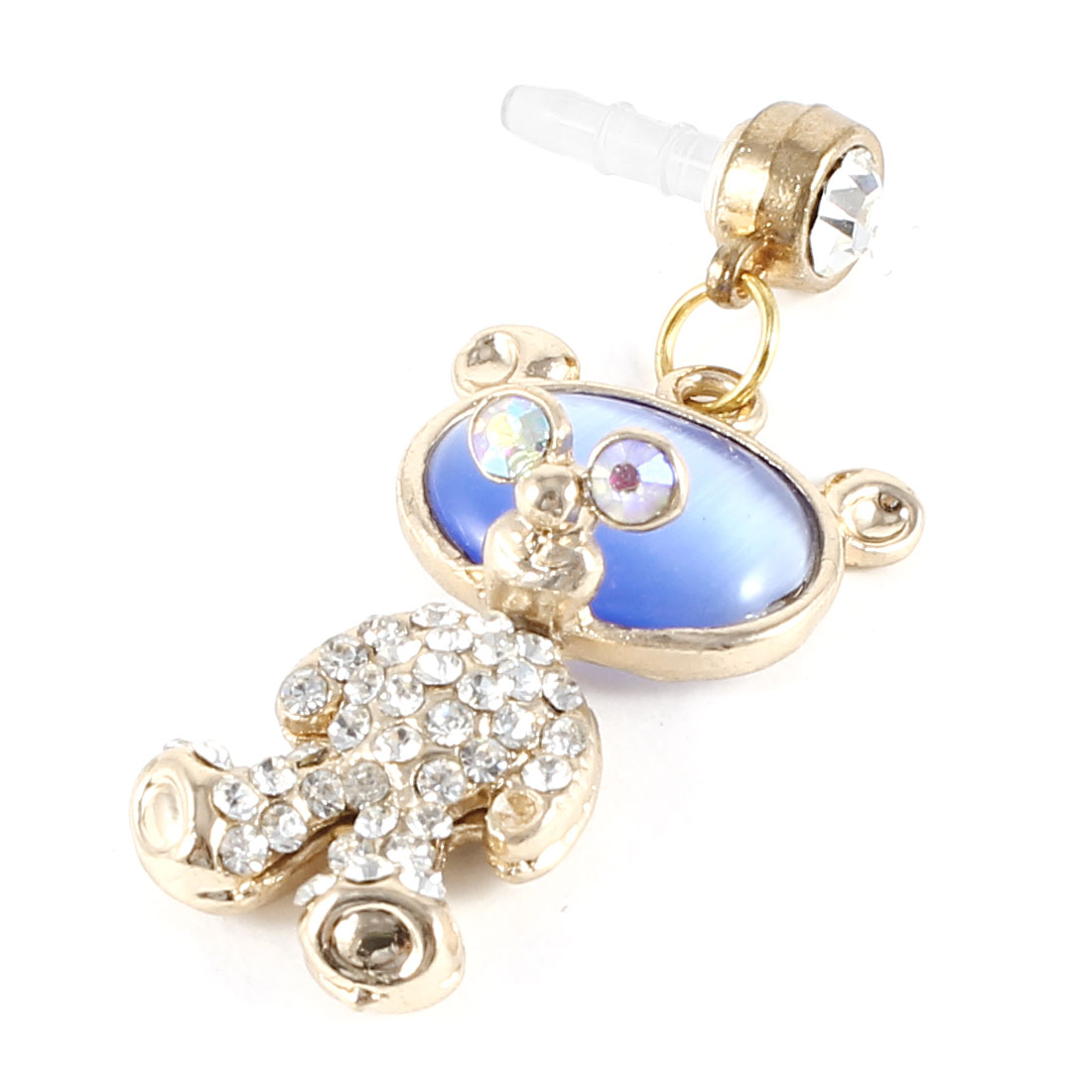 Rhinestone Accent Bear Shape Pendant 3.5mm Dust Ear Cap Stopper White Gold Tone for Smart Phone