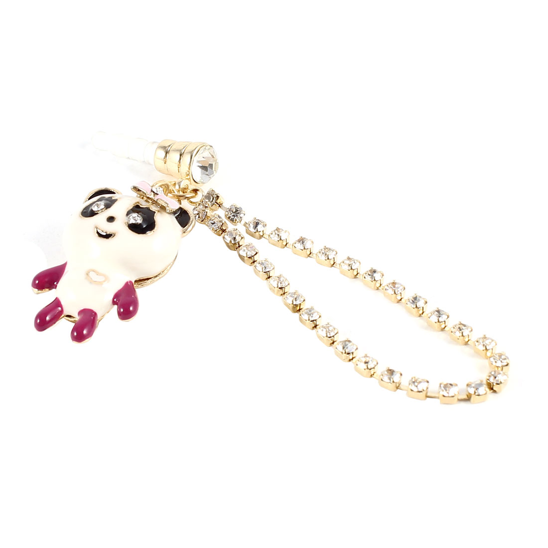 3.5mm Anti Dust Rhinestone Chain White Fuchsia Panda Pendant Ear Cap for Mobile Phone