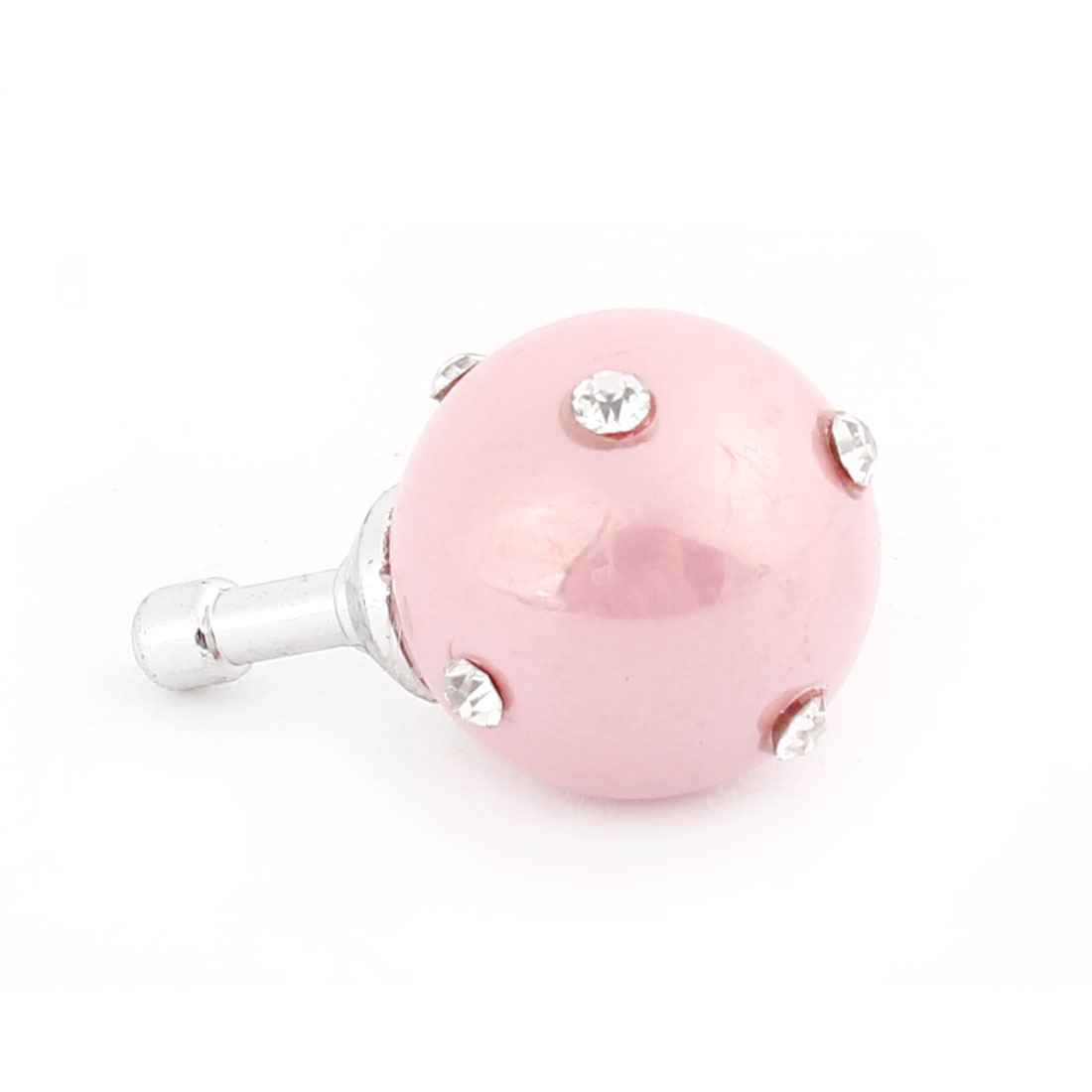 Pink Faux Pearl Rhinestone 3.5mm Earphone Anti Dust Cap Stopper for Phone
