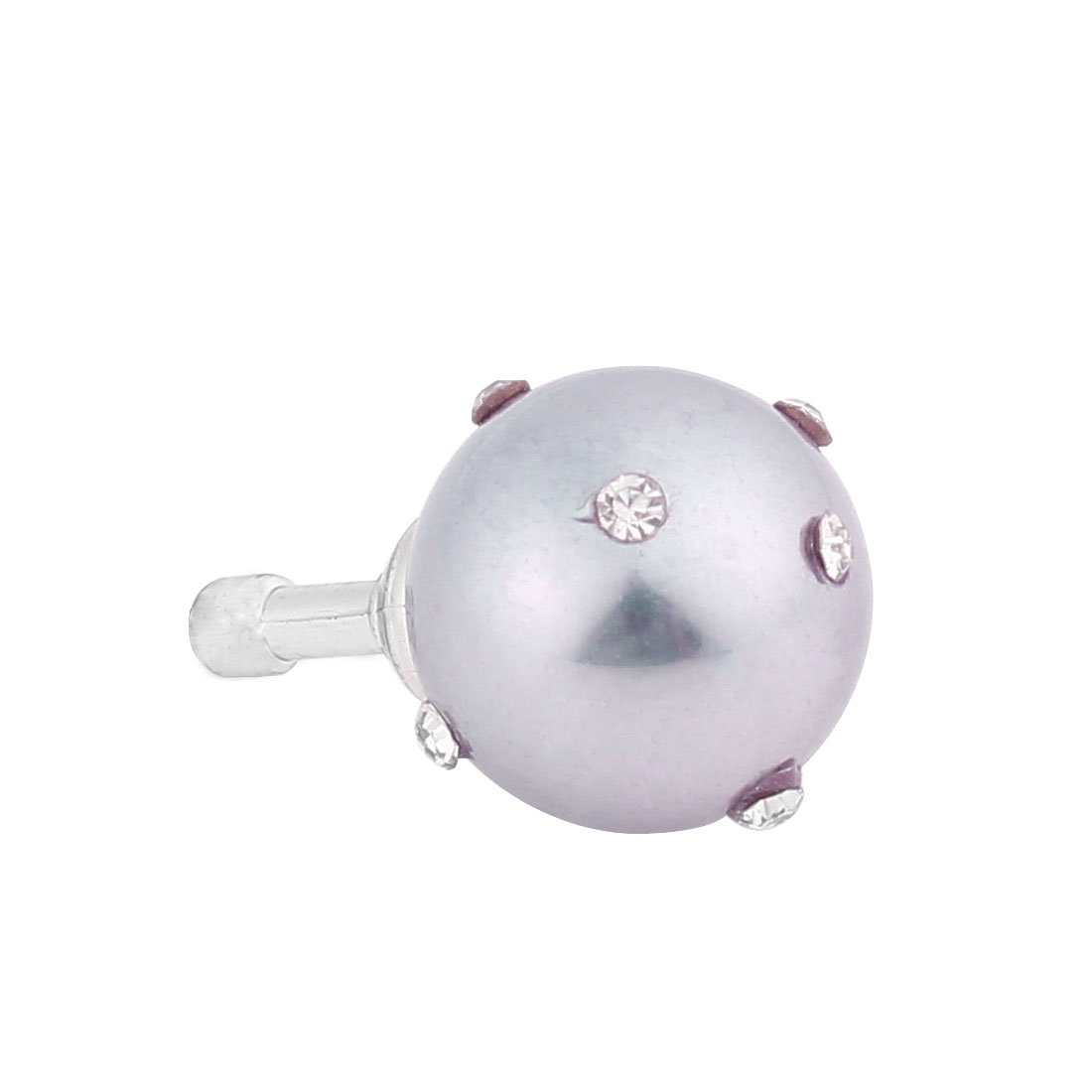 Light Purple Imitation Pearl Rhinestone 3.5mm Earphone Anti Dust Cap Stopper for Phone