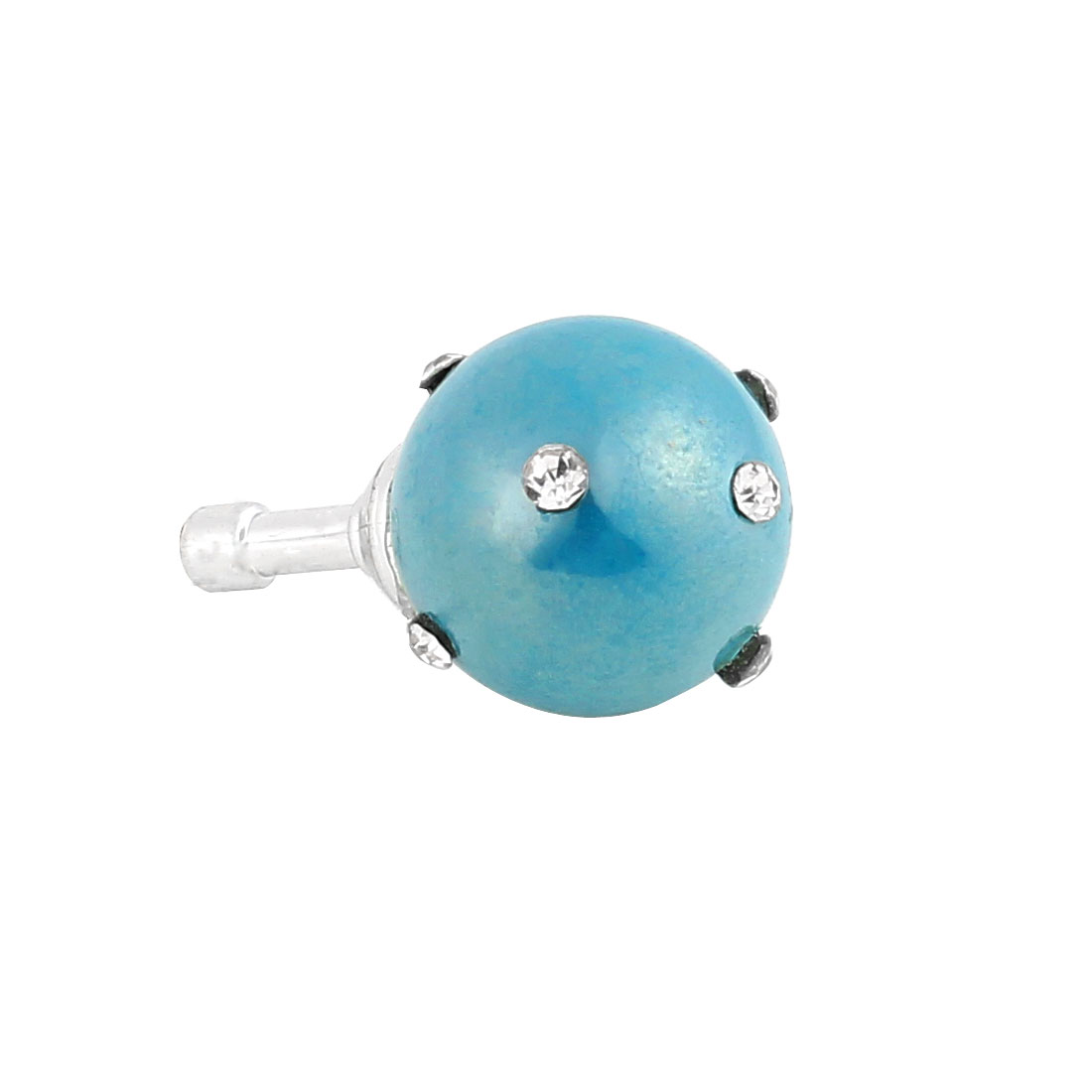Teal Faux Pearl Rhinestone 3.5mm Earphone Anti Dust Plug Cap Stopper for Phone