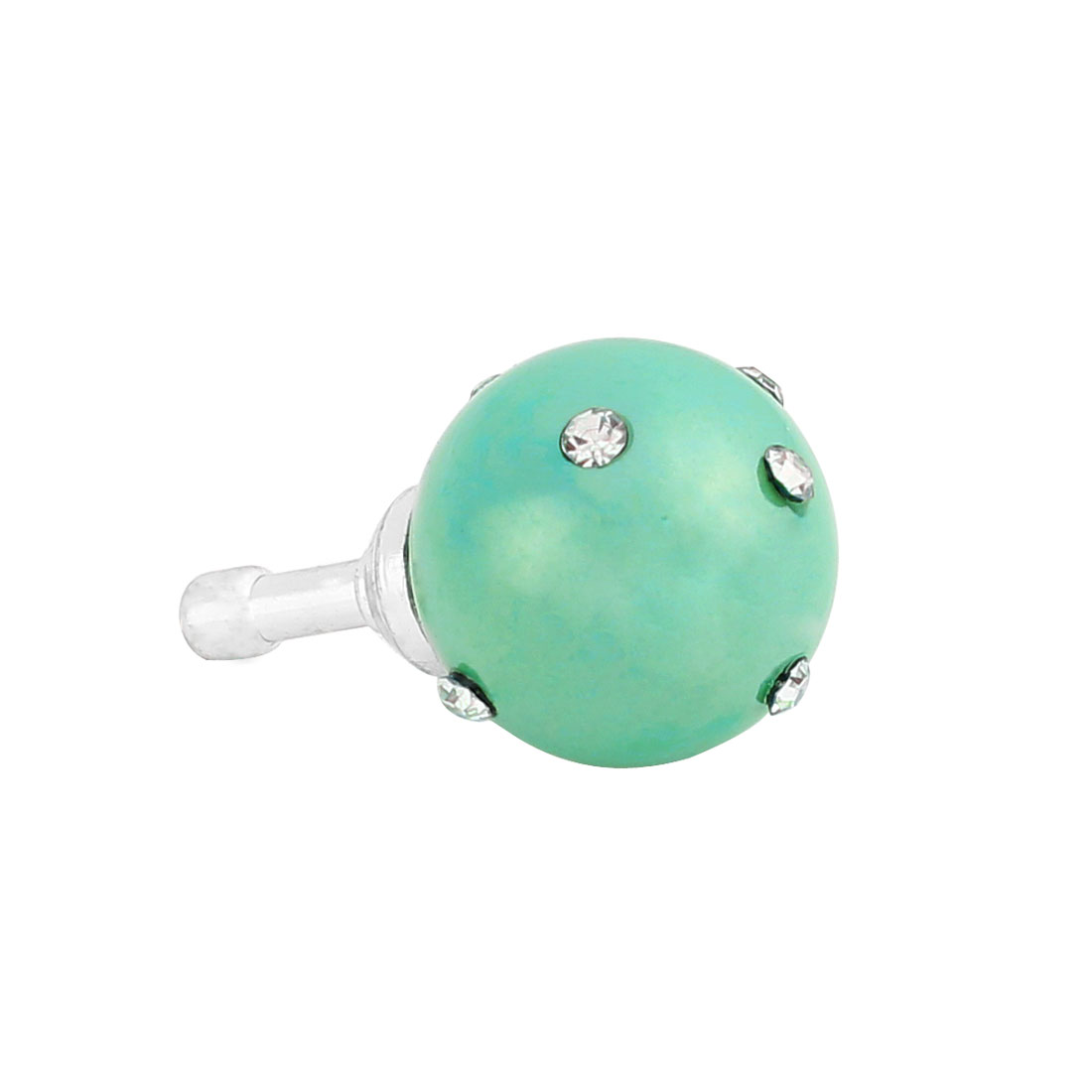 Baby Blue Faux Pearl Rhinestone 3.5mm Earphone Anti Dust Plug Cap Stopper for Phone