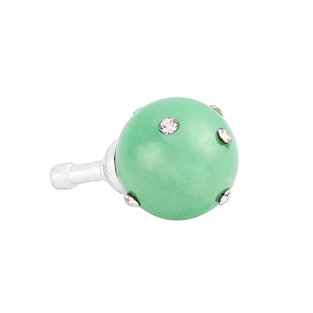 Green Faux Pearl Rhinestone 3.5mm Earphone Anti Dust Plug Cap Stopper for Phone