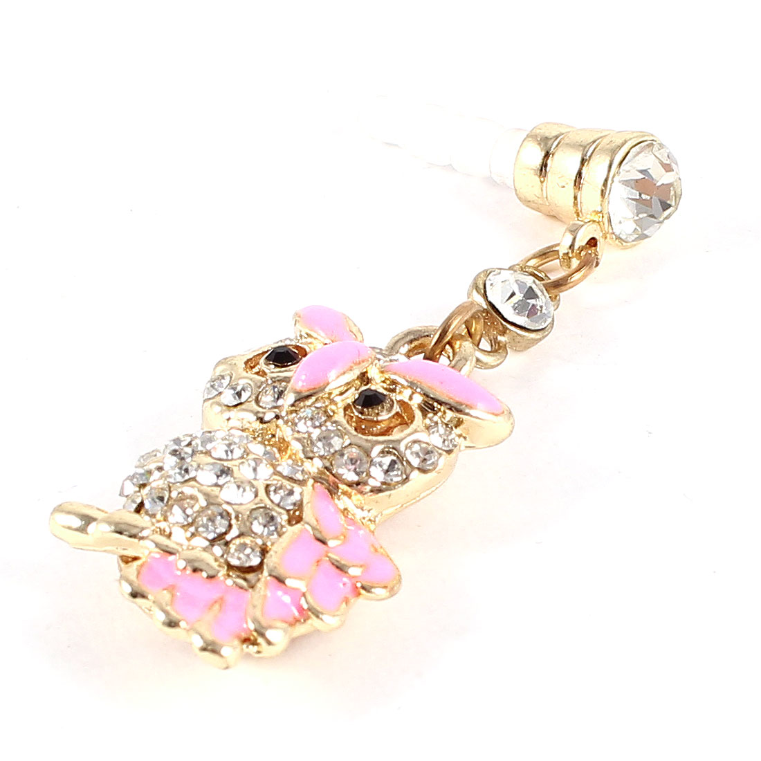 Rhinestone Owl Detailing 3.5mm Earphone Ear Cap Anti Dust Dustproof Stopper Pink