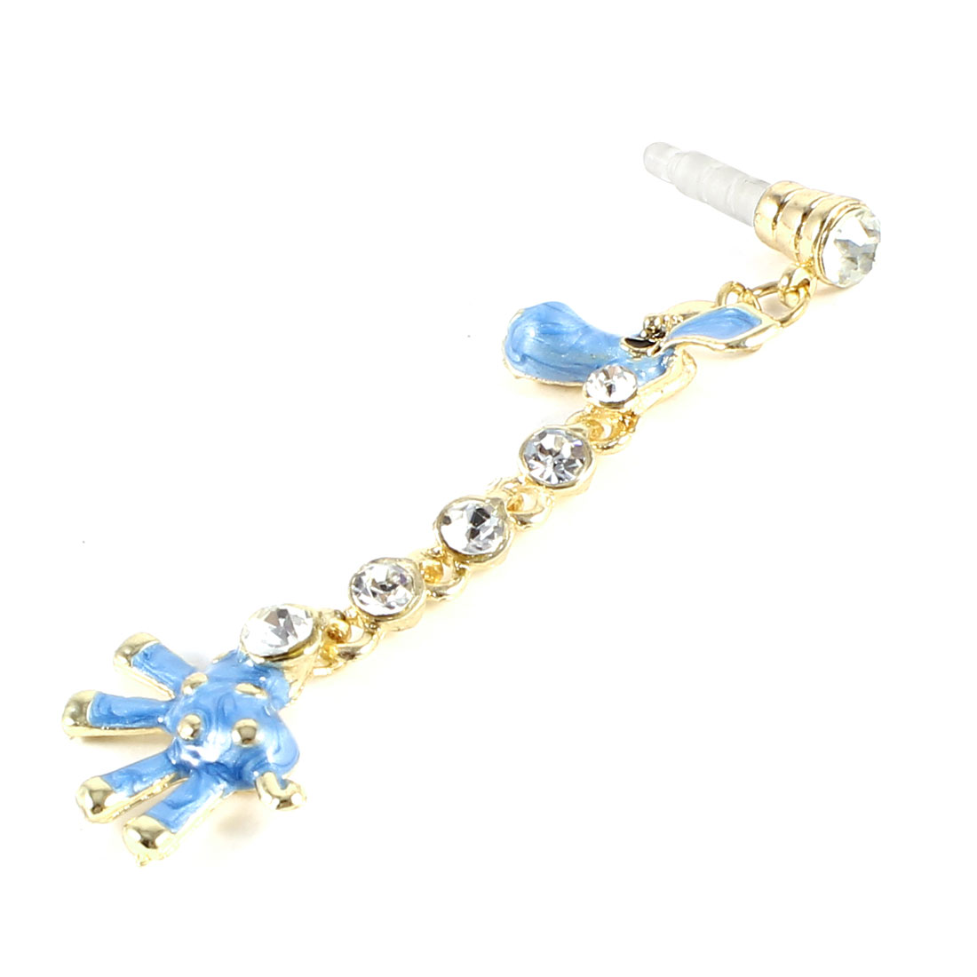Rhinestone Giraffe Detailing 3.5mm Earphone Ear Cap Anti Dust Dustproof Stopper Blue
