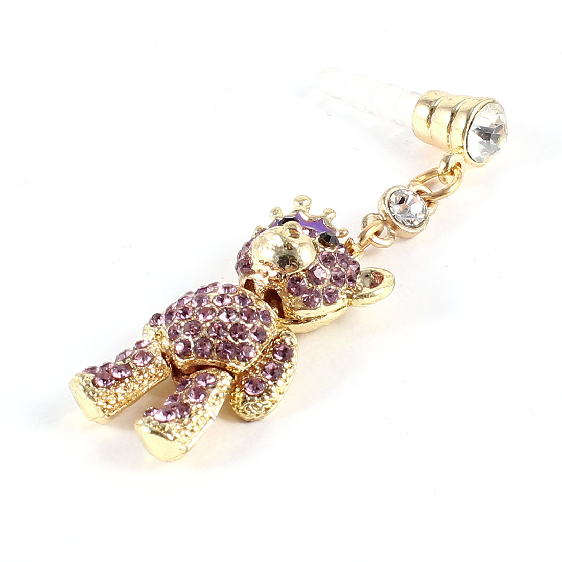 Rhinestone Bear Detailing 3.5mm Earphone Ear Cap Anti Dust Dustproof Stopper Purple