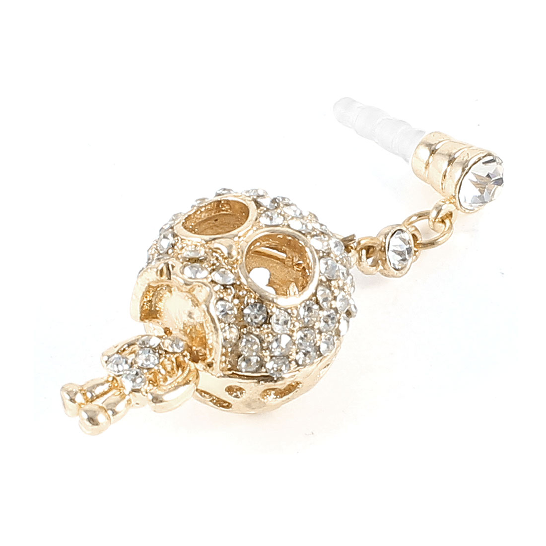 Gold Tone Clear Rhinestone Decoration Skull Pendant 3.5mm Dust Ear Cap Stopper for Cell Phone Smartphone