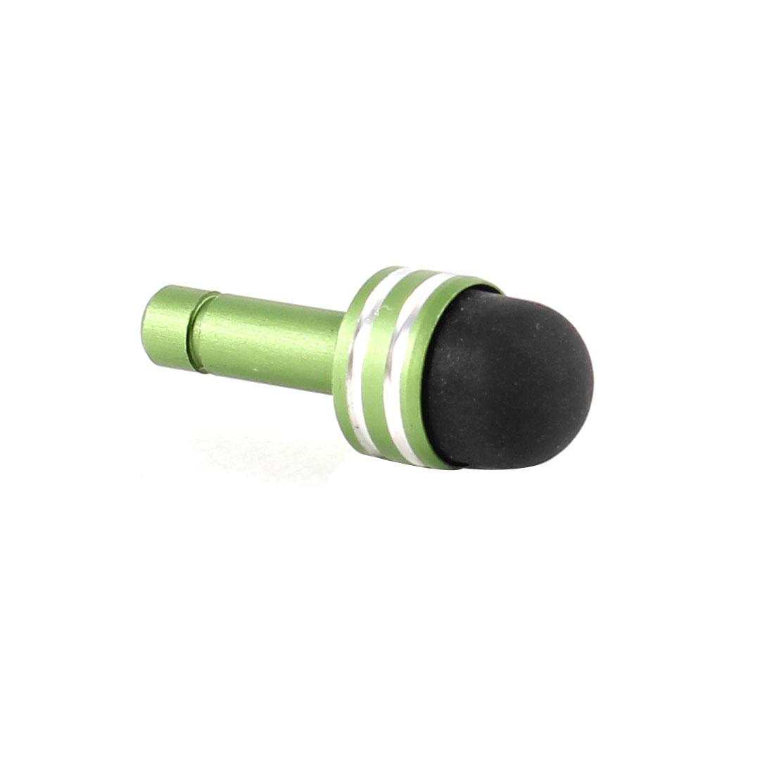 Stripe Pattern 3.5mm Ear Anti Dust Cap Stopper Stylus Pen Olive Green Black for Smartphone