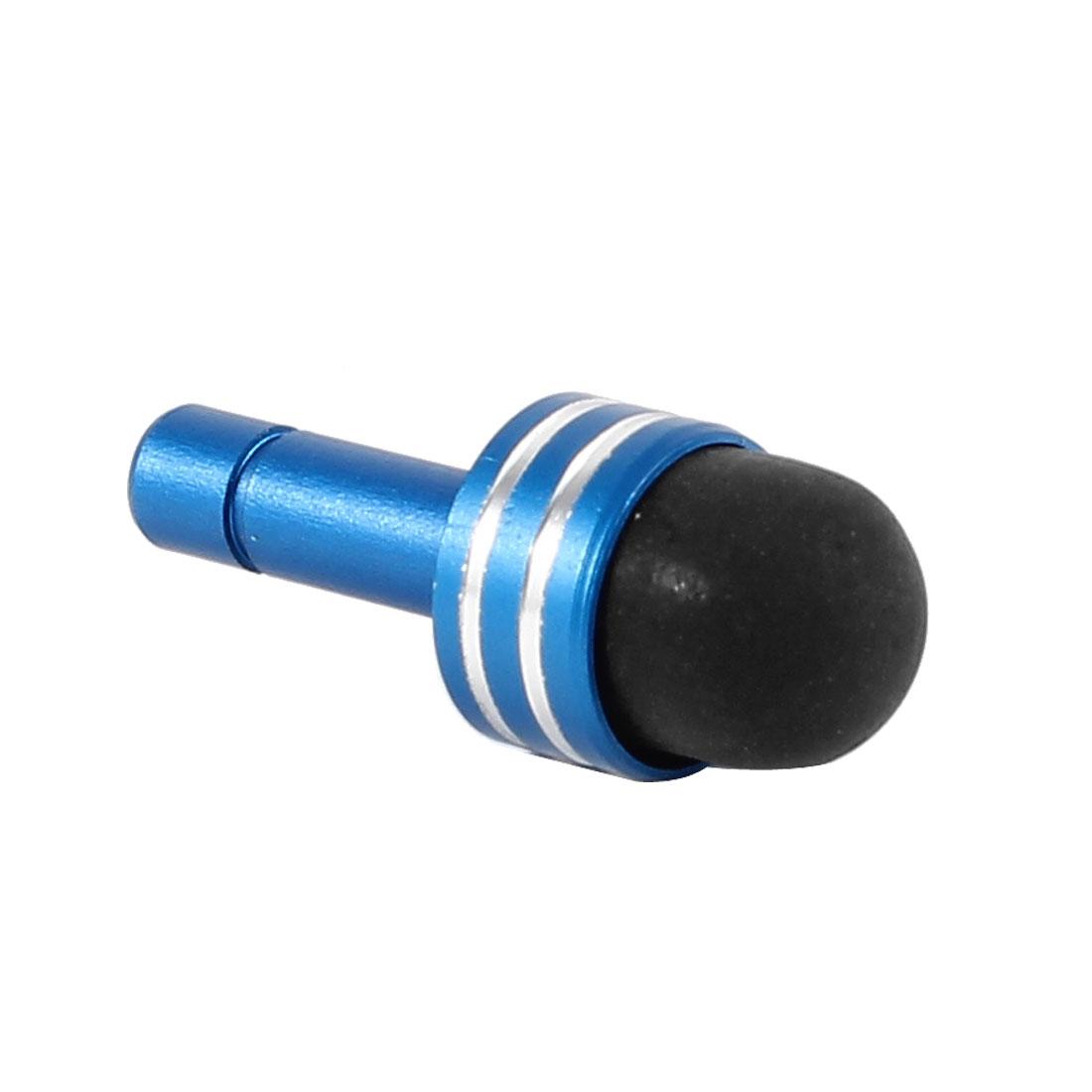Stripe Pattern 3.5mm Ear Anti Dust Cap Stopper Stylus Pen Sky Blue Black for Smartphone