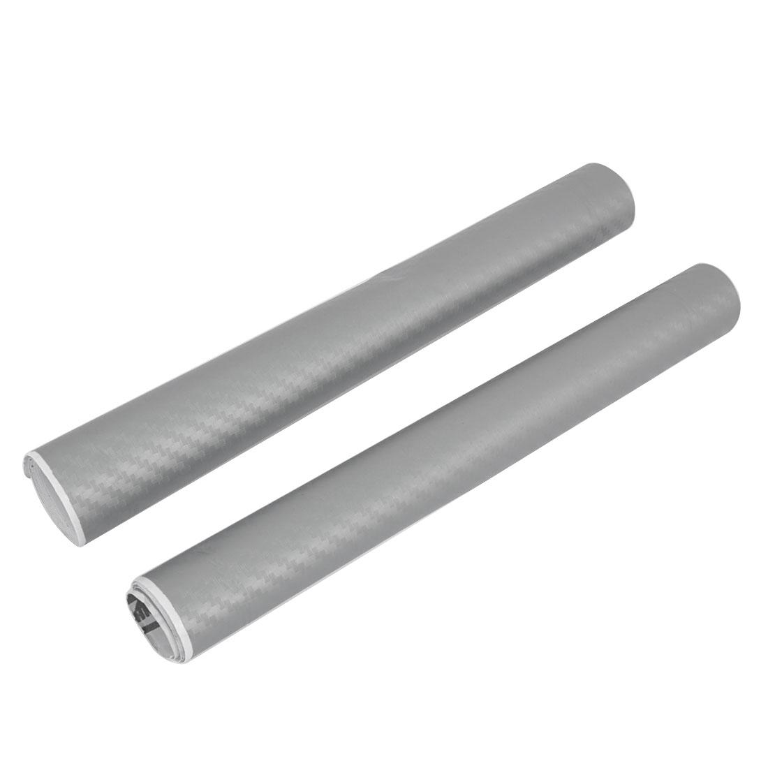 2 Pcs Silver Tone Woven Pattern Carbon Fiber 3D Decal Sticker 50x20cm for Car