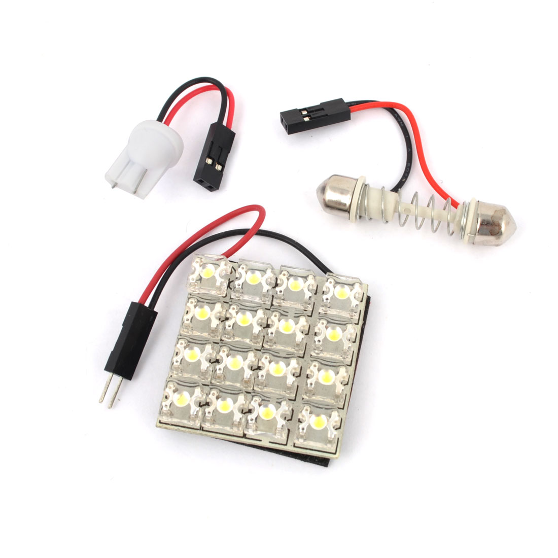 Internal Car Adhesive White 16-LED Panel Dome Light Lamp w T10 Festoon Adapter