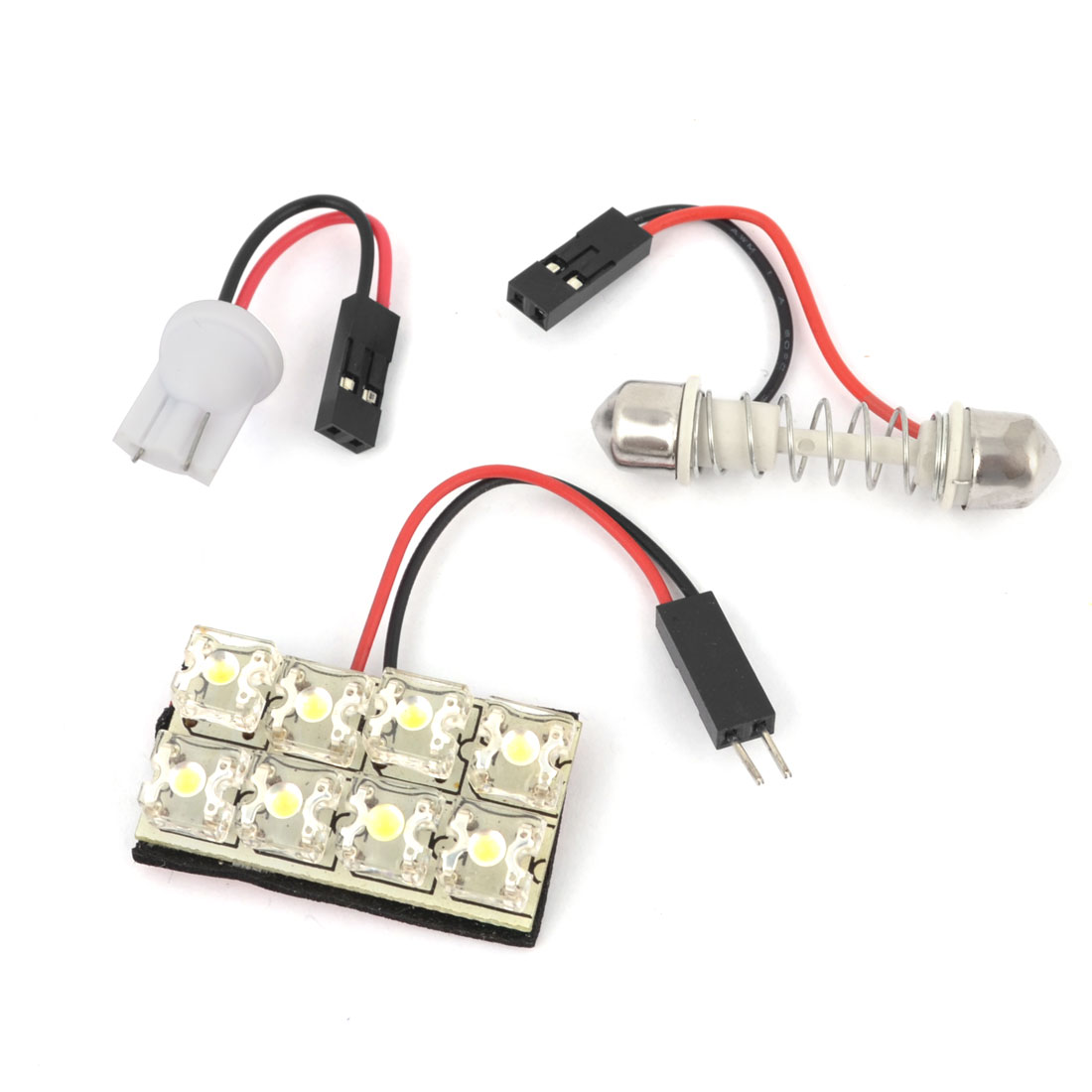 Internal Car Adhesive White 8-LED Panel Roof Dome Light w T10 Festoon Adapter