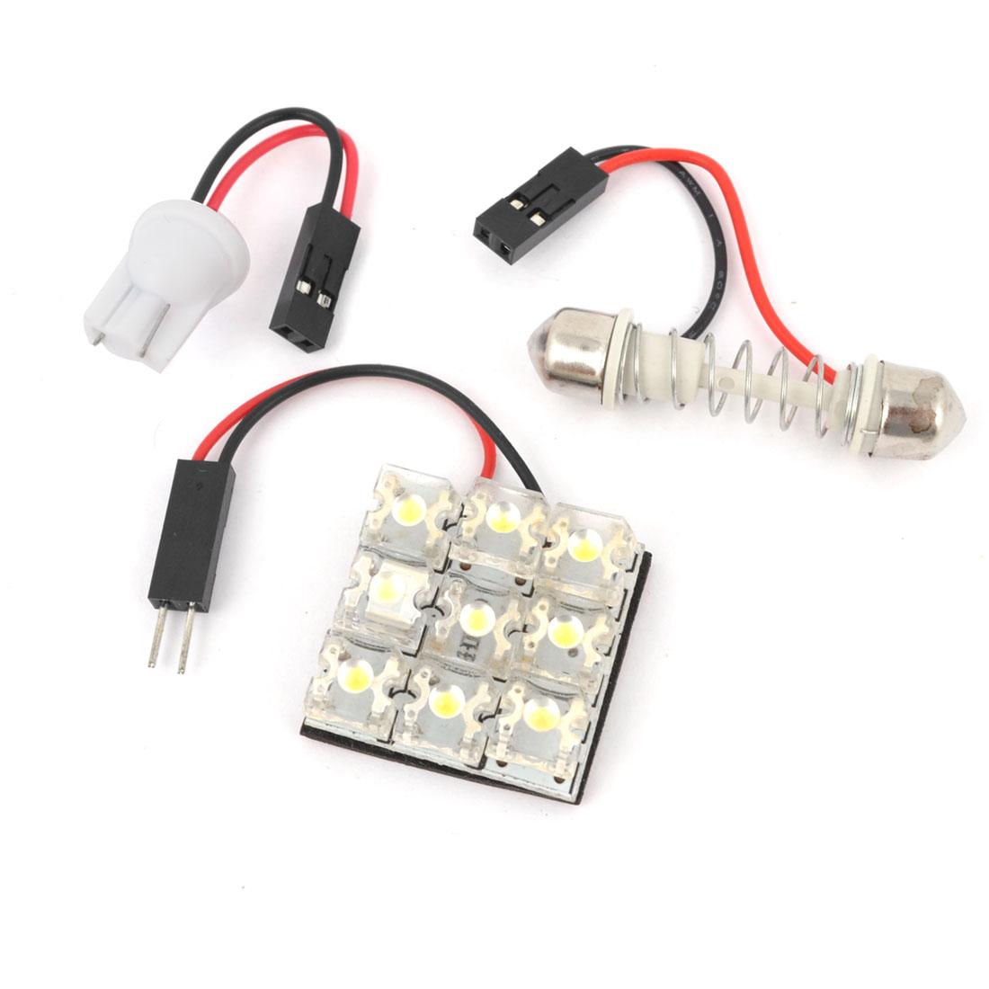 Internal Car Adhesive White 9-LED Panel Roof Dome Light w T10 Festoon Adapter