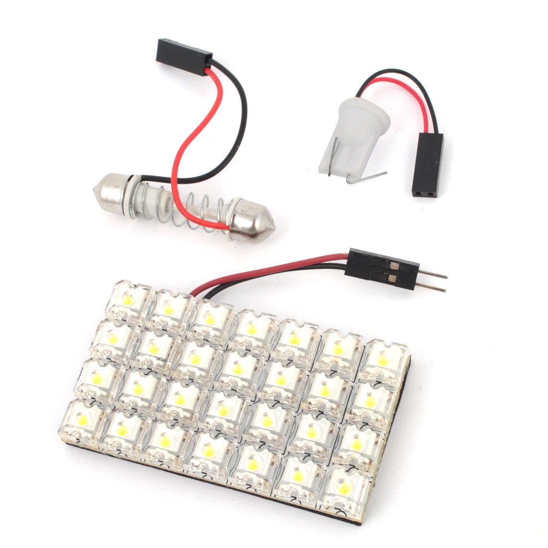 Internal Car Adhesive White 28-LED Panel Roof Dome Light w T10 Festoon Adapter