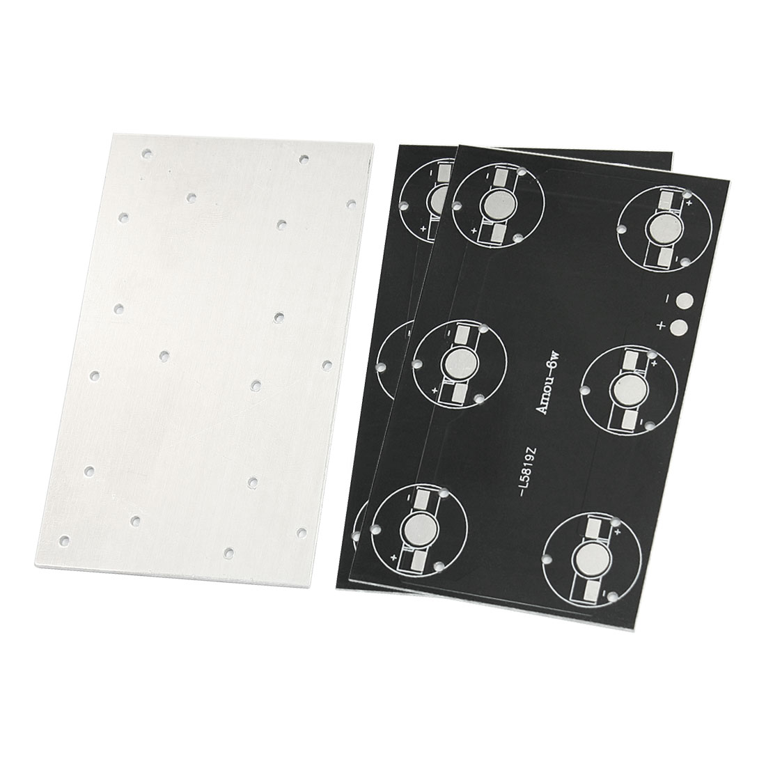 3 Pcs 100mm x 60mm Rectangle Aluminum Base Plate PCB Circuit Board for 6 x 1W/3W High Power LEDs in Series