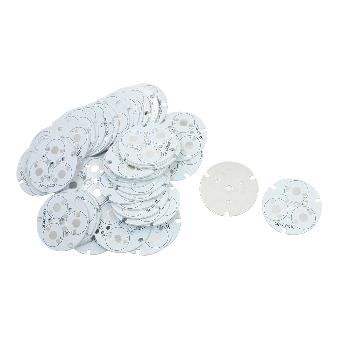 50pcs 4.5cm Circle Aluminum Base Plate PCB Circuit Board for 3 x 1W/3W High Power LEDs Bulb Light in Series