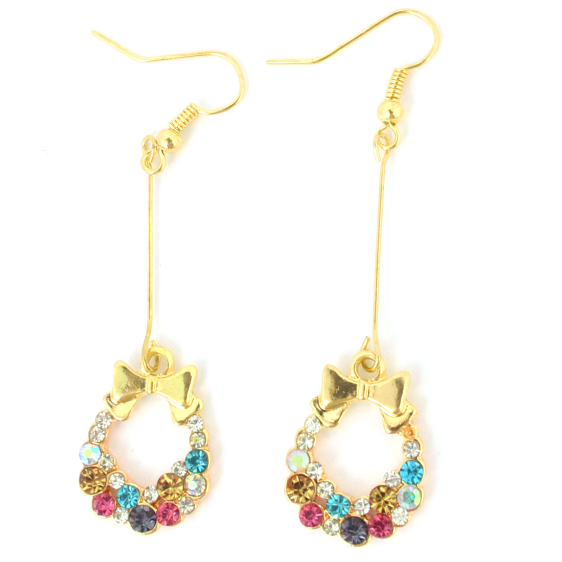 Lady Pair Gold Tone Chain Connect Colorful Rhinestones Pendant Hook Earrings