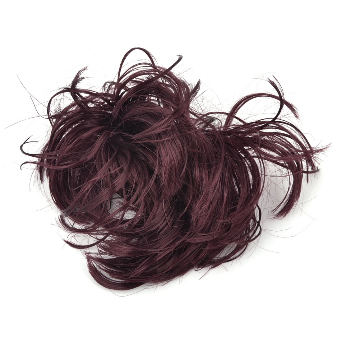 Woman Short Style Ponytail Elastic Synthetic Fiber Curly Wig Hairpiece Stretchy Hair Band Holder Burgundy