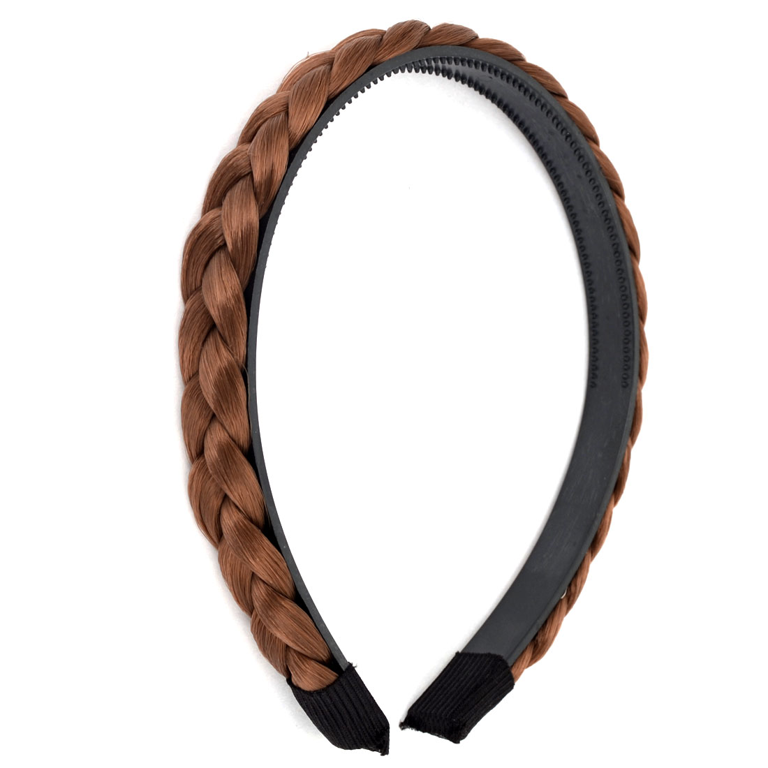 "Coffee Color Braided Wigs Hairpiece Adjustable Plastic 0.6"" Width Band Hair Hoop Headband for Women"