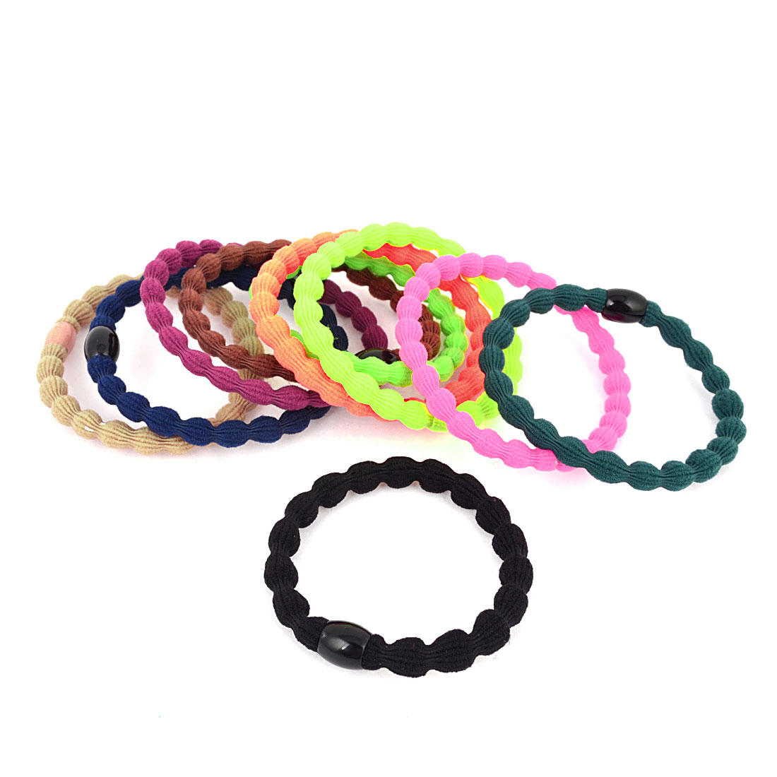 Girl Multicolor Stretched Rubber Ponytail Holder Hair Rope Tie Band 10 Pcs