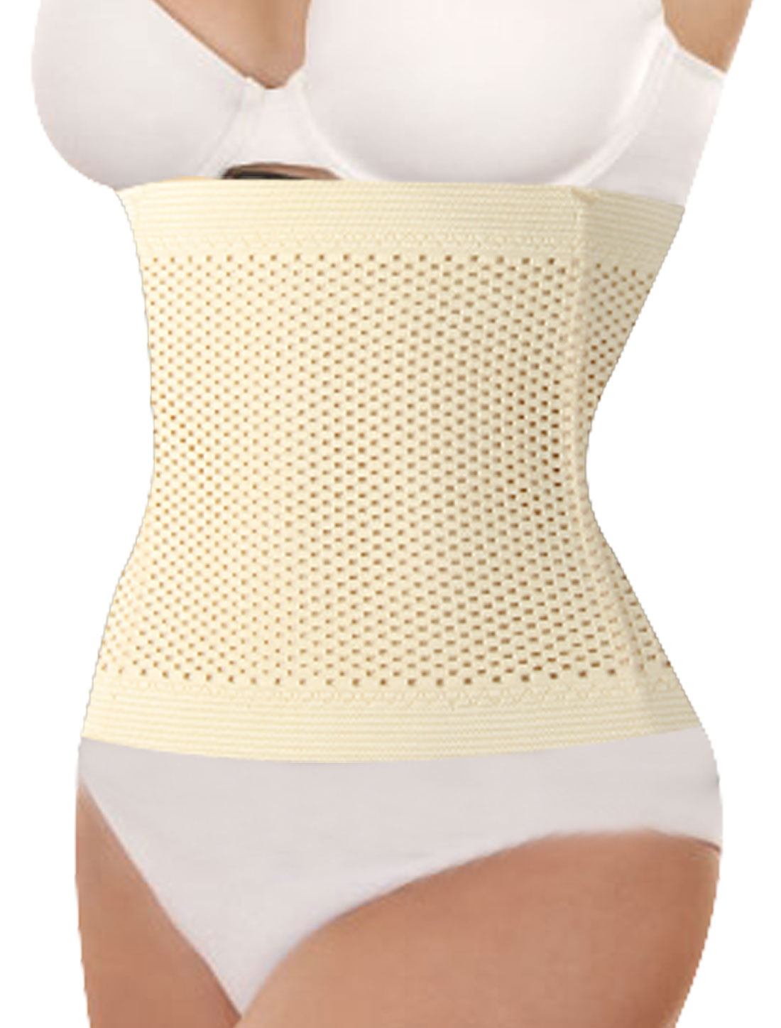 Women Hollow Out Holes Tummy Girdle Belt Shapewear Corset Waist Cincher Beige XS