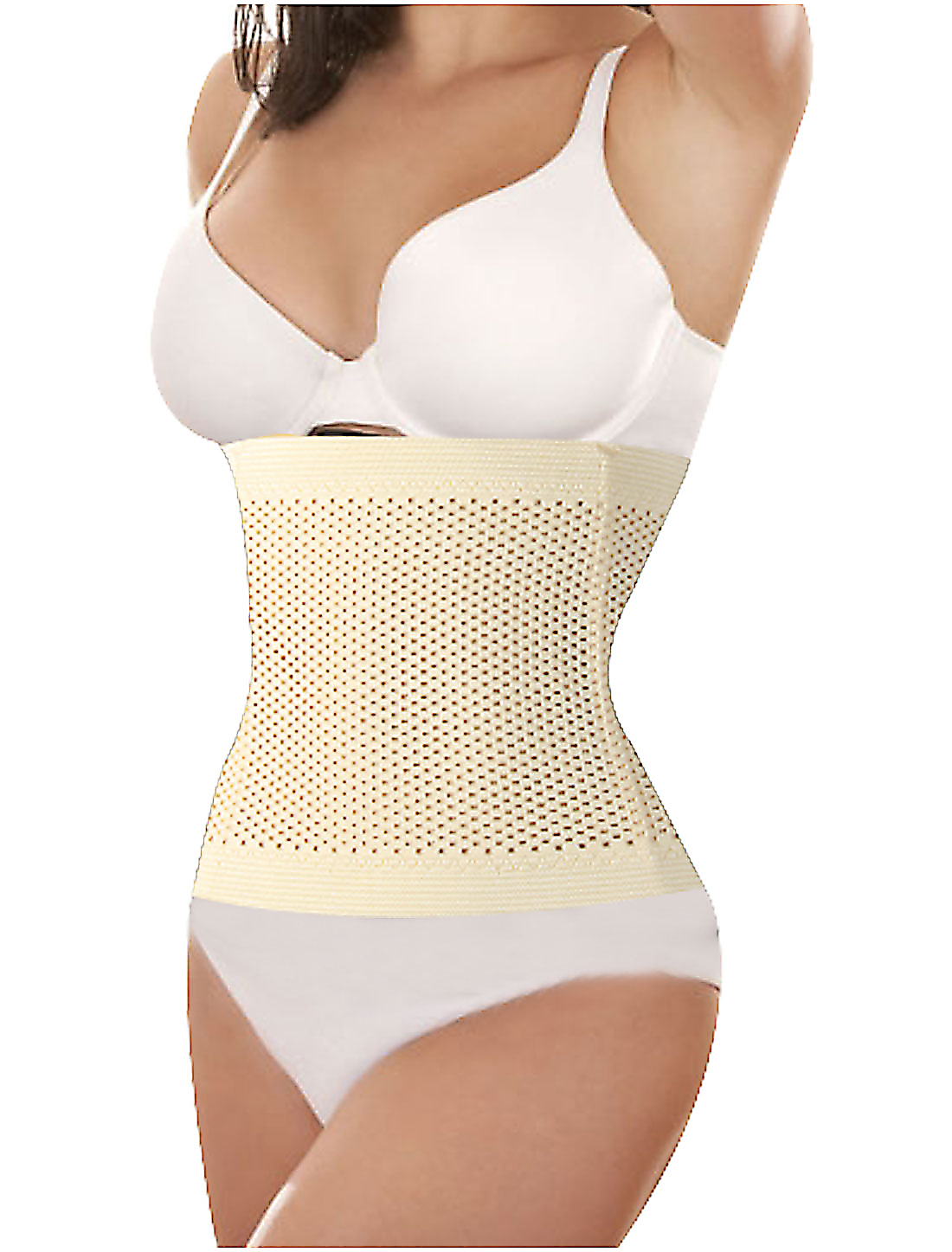 Women Hollow Out Holes Tummy Girdle Belt Shapewear Corset Waist Cincher Beige S