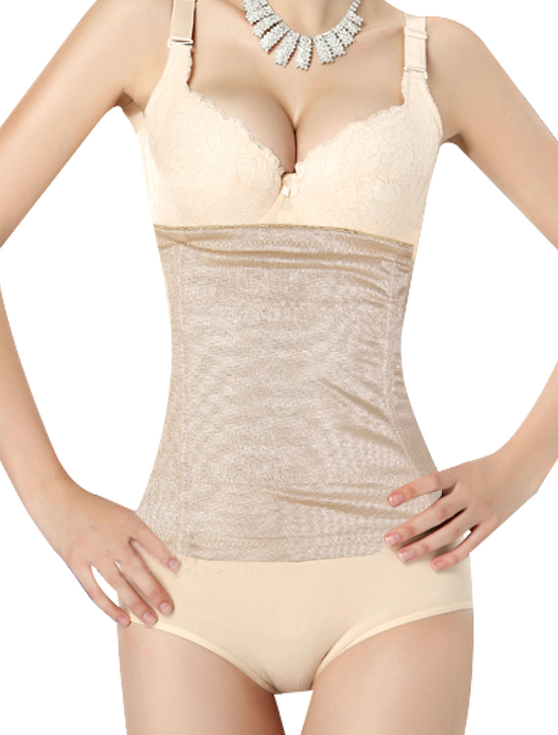 Ladies Floral Pattern Slimming Belt Tummy Waist Cincher Corset Flesh Color L